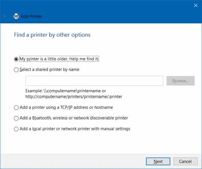 add a printer to Windows 10 step5