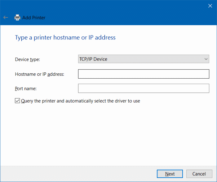 add a printer to Windows 10 step9