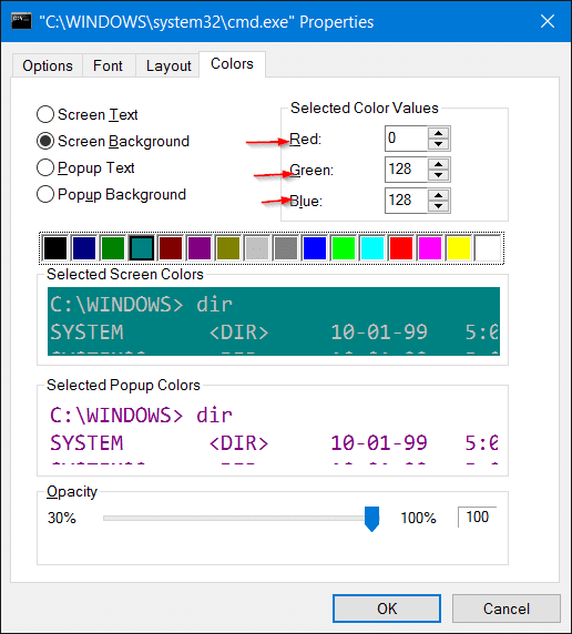 change command prompt background color in windows 10 step4