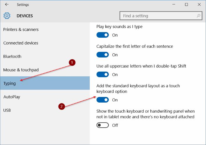enable standard full keyboard layout in touch keyboard in Windows 10 pic5