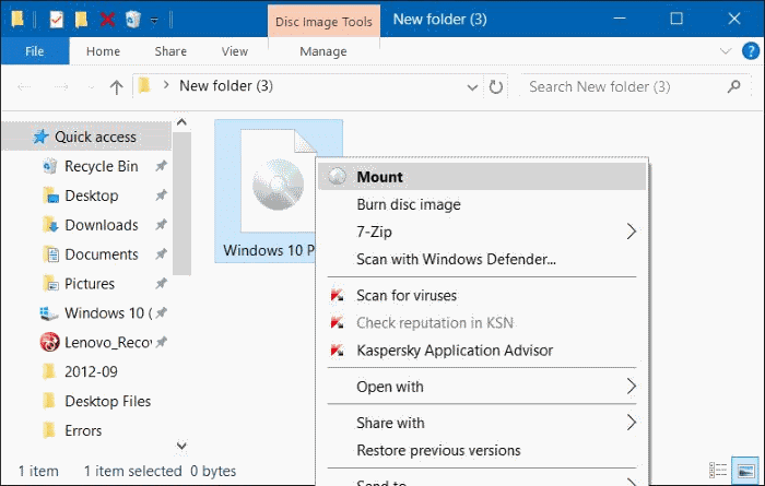fix to Mount option missing from context menu in Windows 10