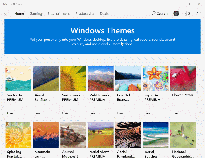 install themes in Windows 10 pic2