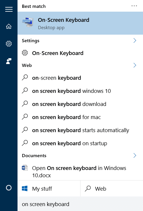open on screen keyboard in Windows 10 pic1