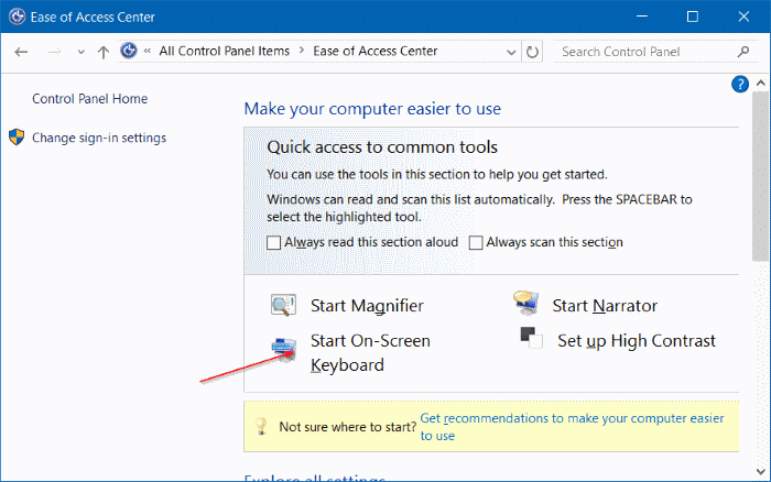 open on screen keyboard in Windows 10 pic6