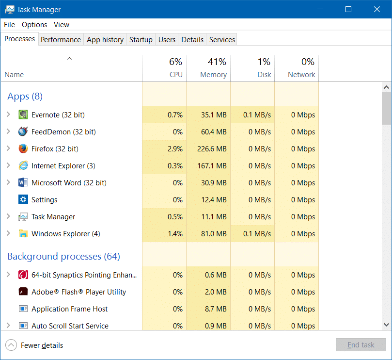 open task manager in Windows 10