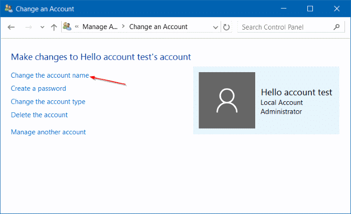 rename Microsoft or local account in Windows 10 step10