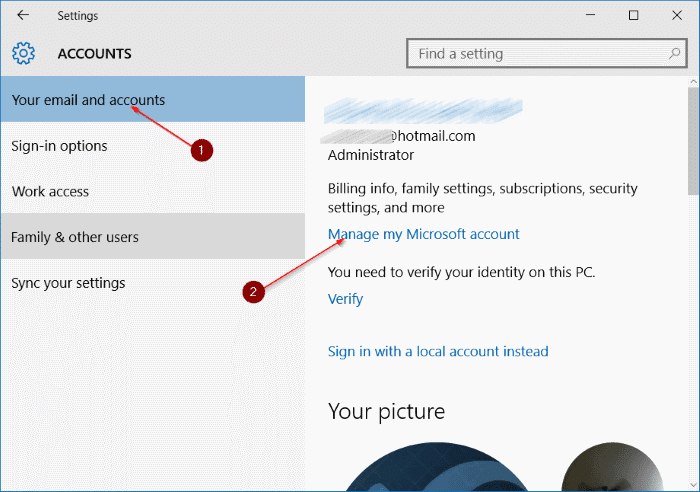 rename Microsoft or local account in Windows 10 step3