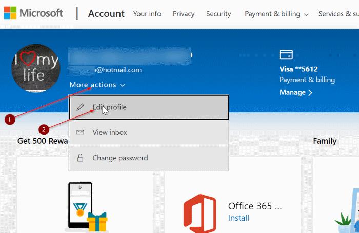 rename microsoft account in Windows 10 pic1