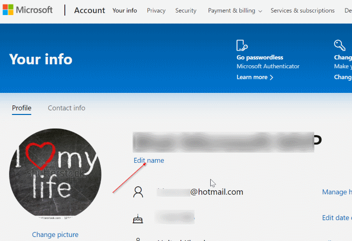 rename microsoft account in Windows 10 pic2