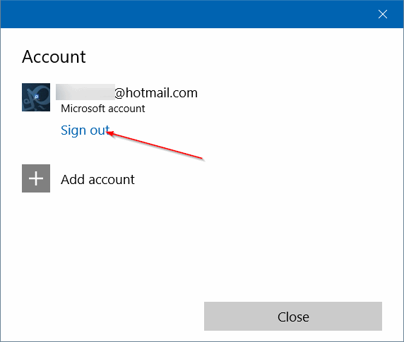 sign in to Store using a different email account in Windows 10 step3