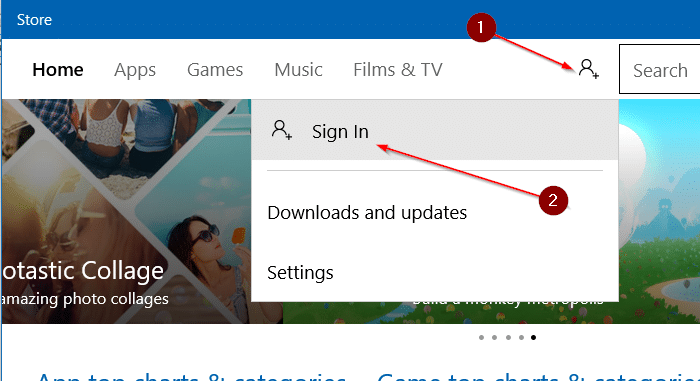 sign in to Store using a different email account in Windows 10 step4