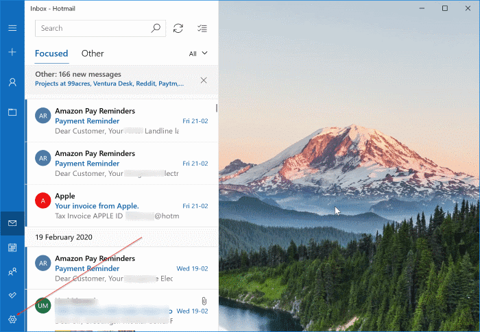 sign out of mail app in Windows 10 pic1