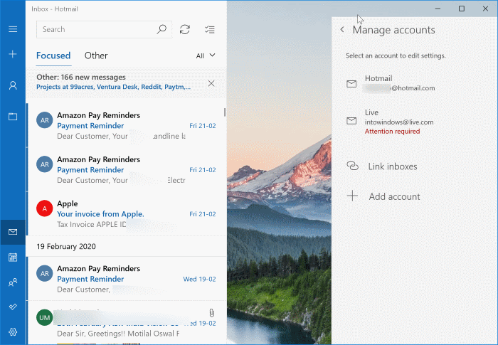 sign out of mail app in Windows 10 pic3