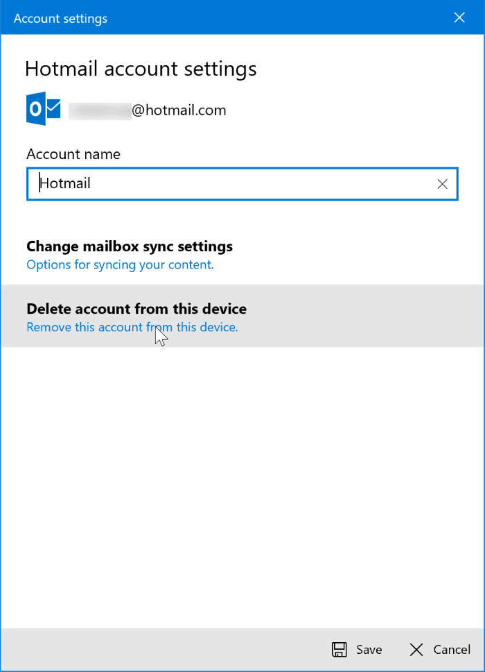 sign out of mail app in Windows 10 pic4