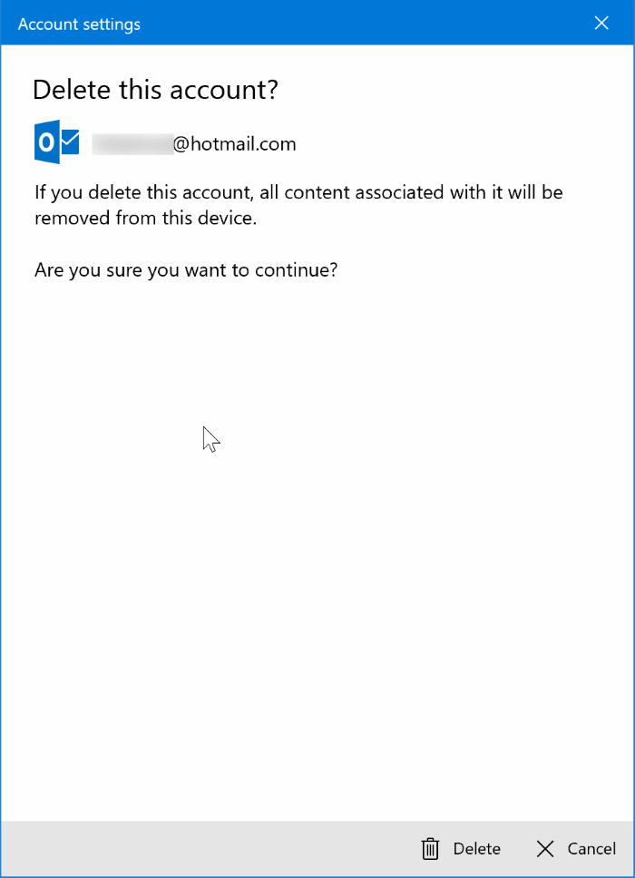 sign out of mail app in Windows 10 pic5