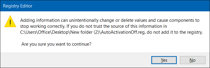 turn off automatic activation in Windows 10 step5