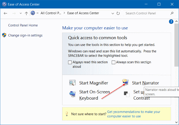 turn on or off narrator in Windows 10 pic2