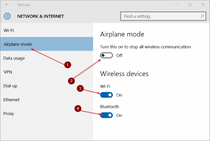 Airplane mode is not turning off in Windows 10 step3