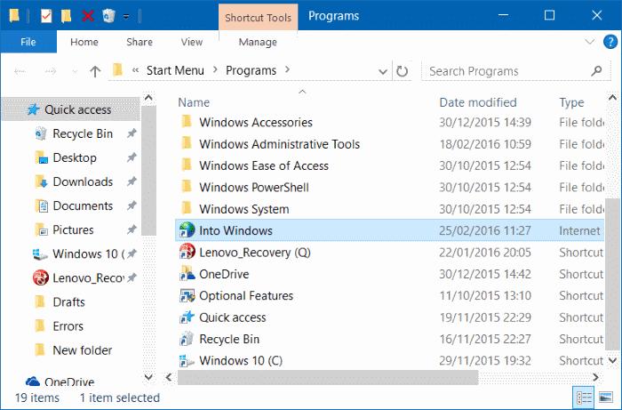 Pin websites to Start menu in Windows 10 step5