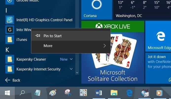 Pin websites to Start menu in Windows 10 step7