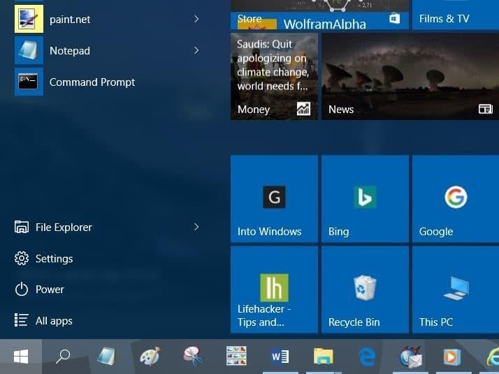 Pin websites to Start menu in Windows 10