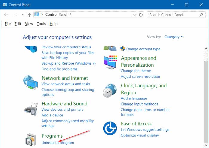 Uninstall programs in Windows 10 step7