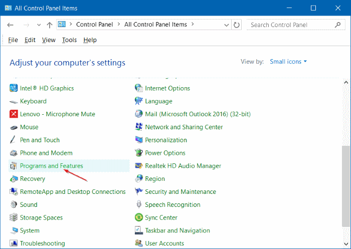 Uninstall programs in Windows 10 step8