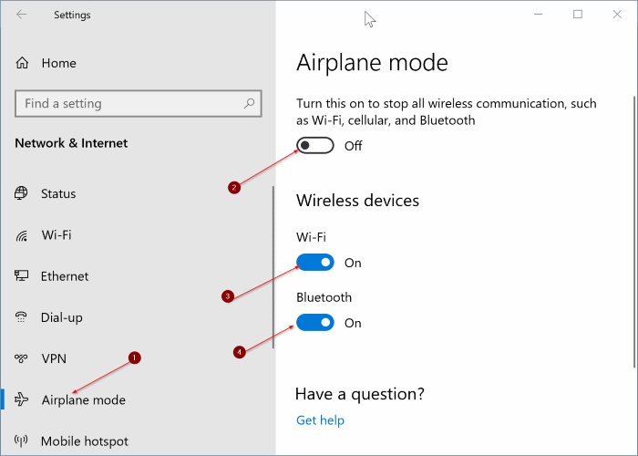 airplane mode not turning off in Windows 10 pic3
