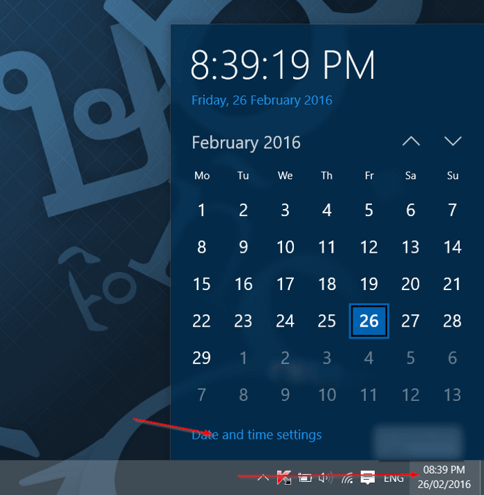 change the clock to 12 hour format in Windows 10 step1