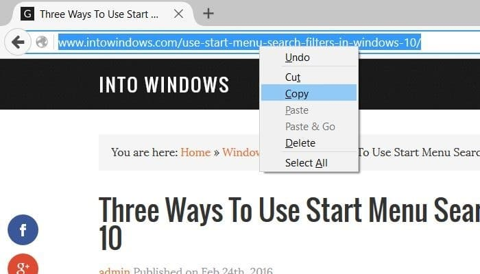create website shortcut on desktop in Windows 10 step1
