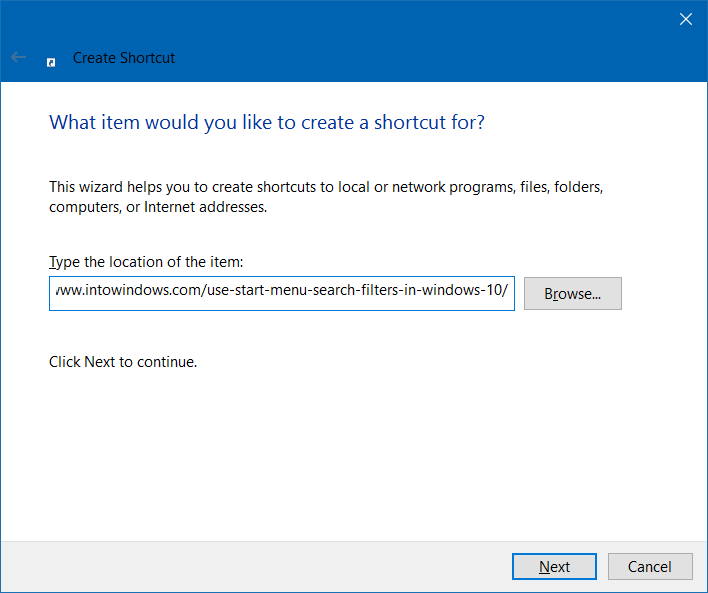 create website shortcut on desktop in Windows 10 step3