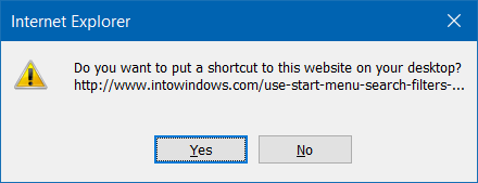 create website shortcut on desktop in Windows 10 step4.1