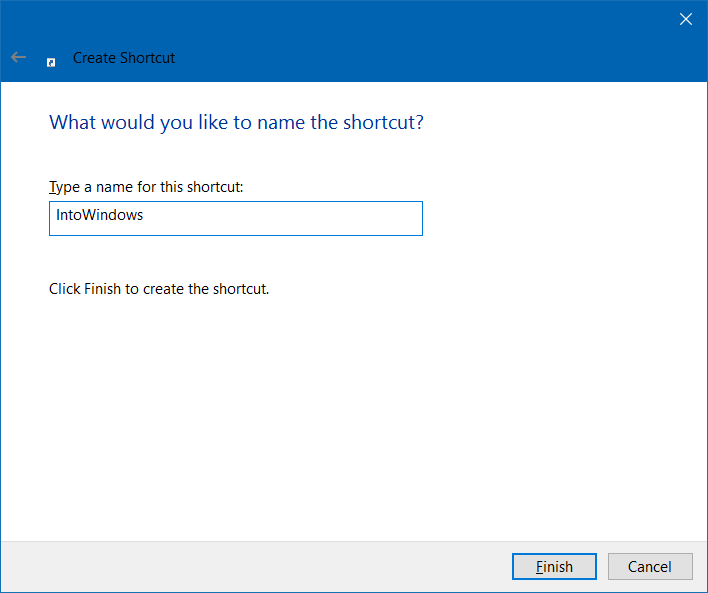 create website shortcut on desktop in Windows 10 step4