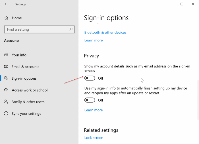 hide name and email address from the sign in screen in Windows 10