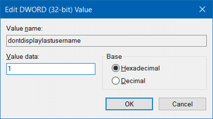 hide username email address on login screen in Windows 10 step3