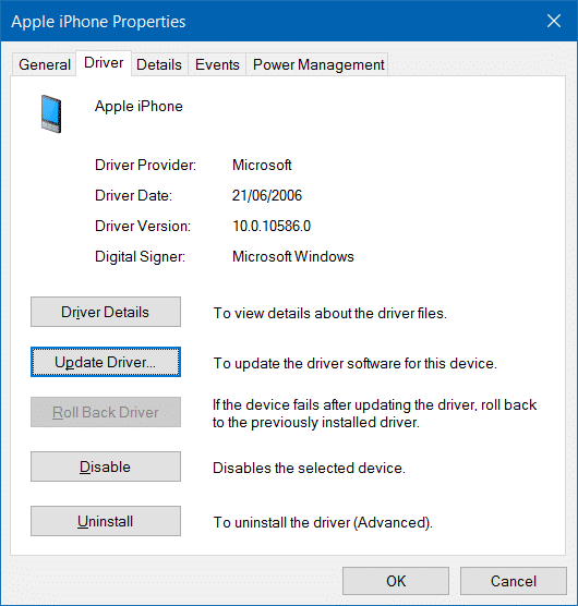 iphone not detected in Windows 10 step7