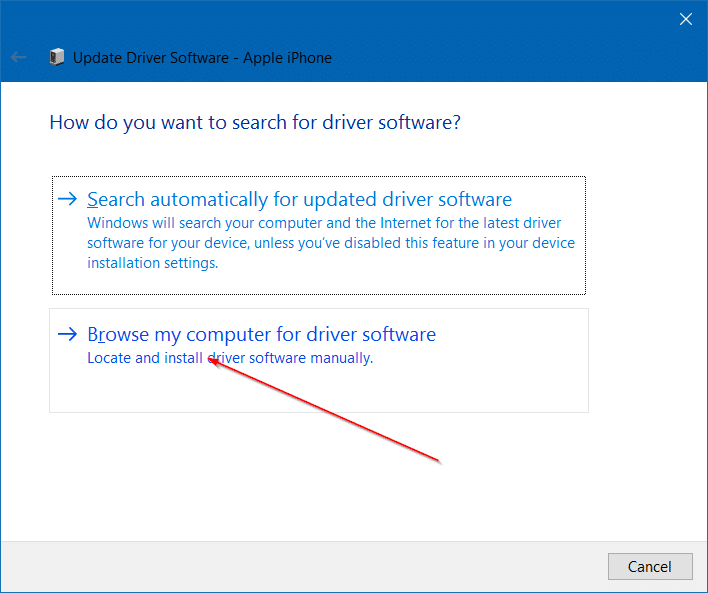 iphone not detected in Windows 10 step8
