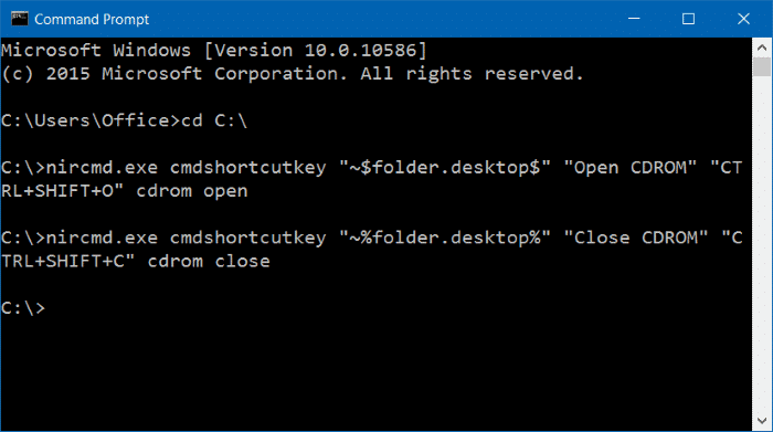 keyboard shortcut to open CDDVD tray in Windows 10
