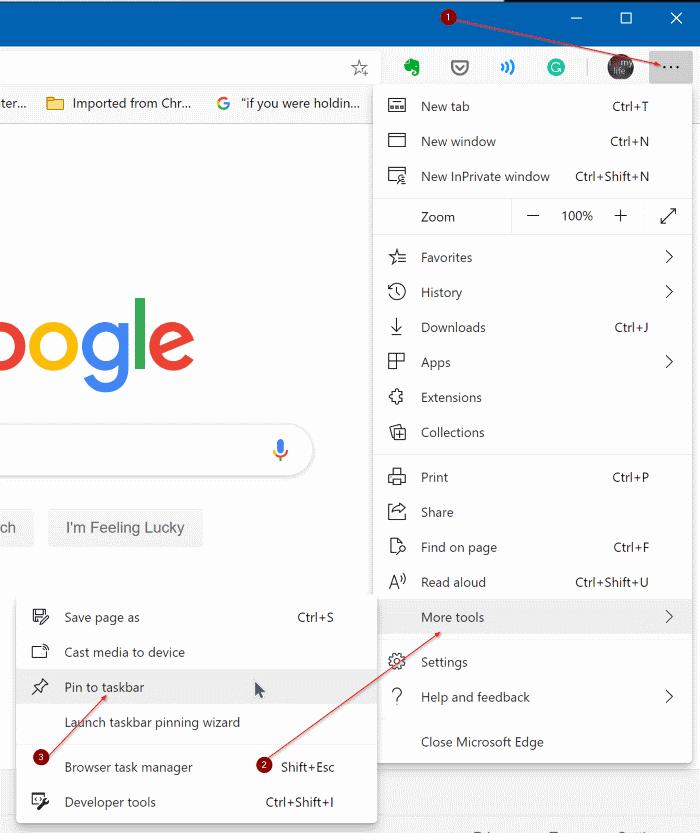pin a website to Windows 10 start menu chrome edge pic1