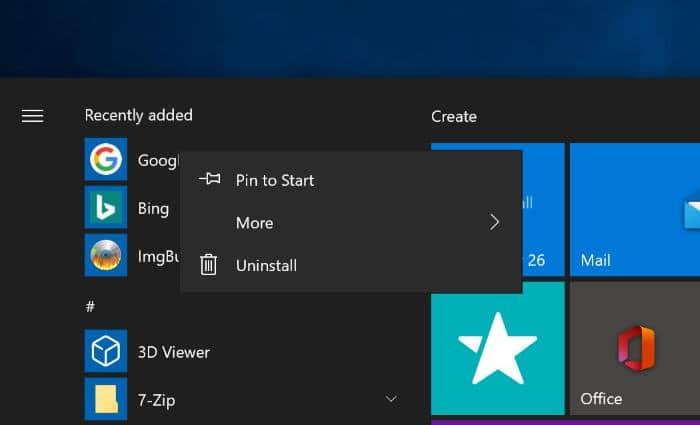 pin a website to Windows 10 start menu chrome edge pic3