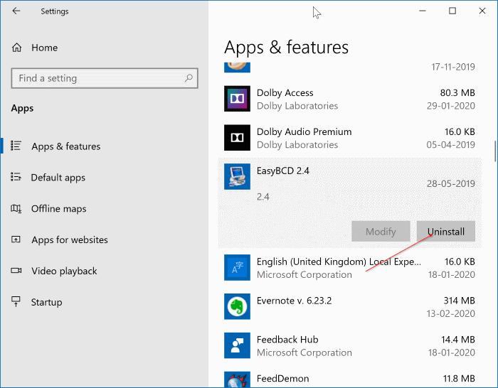 uninstall programs in Windows 10 pic1