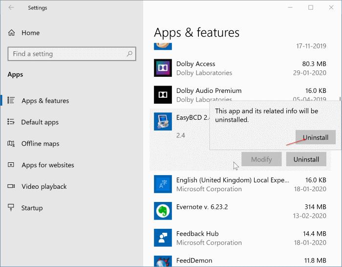 uninstall programs in Windows 10 pic2