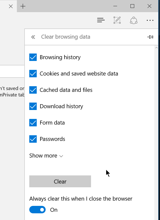 Automatically delete browsing history in edge in windows 10 Browser cookies