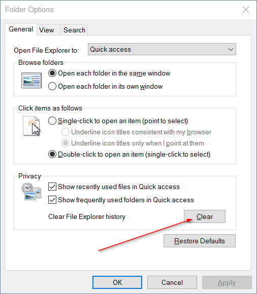 Clear Quick Access history in Windows 10 step4