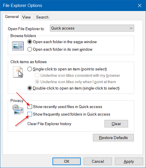 Clear Quick Access history in Windows 10 step7