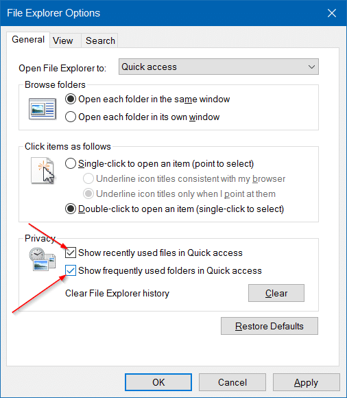 Clear Quick Access history in Windows 10 step8