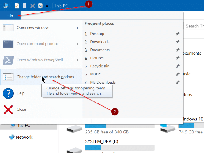 Clear file explorer history in Windows 10 pic2