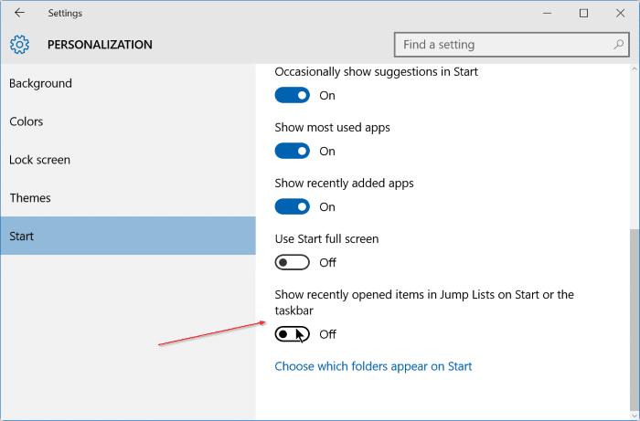 Clear jump list in Windows 10 step2