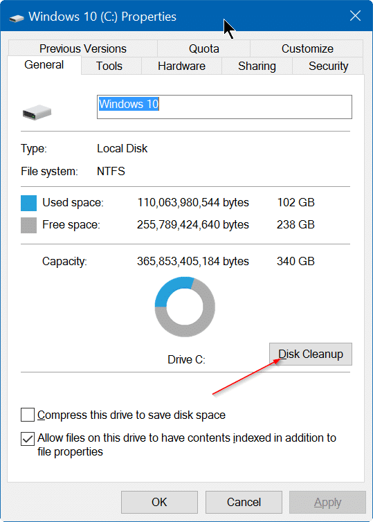 Disk cleanup missing from drive properties in Windows 10 pic2