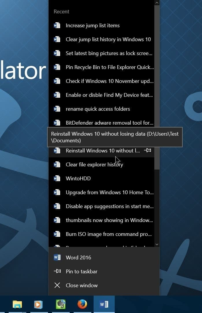 Increase the number of items in jump lists in Windows 10 step01